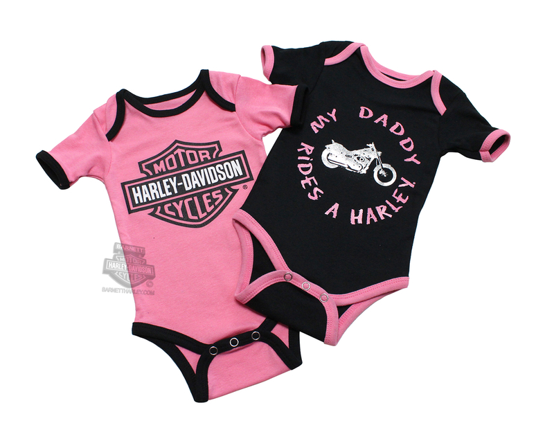 Harley-Davidson® Girls Baby Twin Pack Creeper My Daddy Rides a Harley Pink