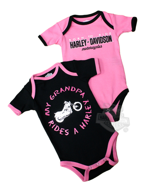 Harley-Davidson® Girls Baby Twin Pack Creeper My Grandpa Rides a Harley Pink