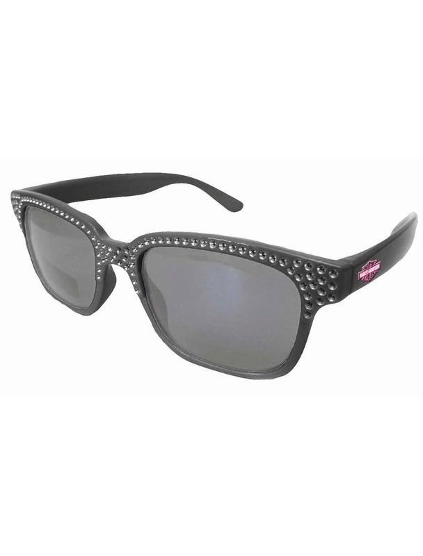 Harley-Davidson® Girls Youth Sunglasses Black with Pink B&S Bling Wayfarer