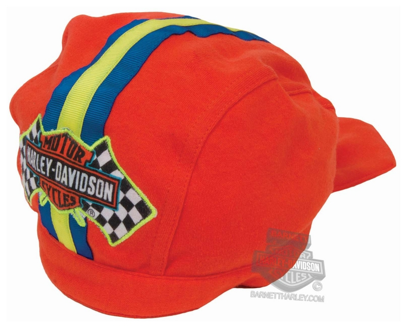 ** 2 for $5 ** Harley-Davidson® Boys Toddler Trademark B&S Racing Flags Interlock Orange Doo Rag *48HR*