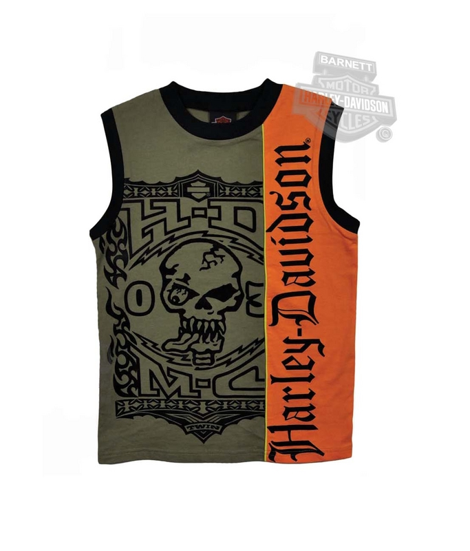 ** SIZE 8/10 ONLY ** Harley-Davidson® Boys Youth HDMC Skull with Flocking Sleeveless Green Muscle T-Shirt *48HR*