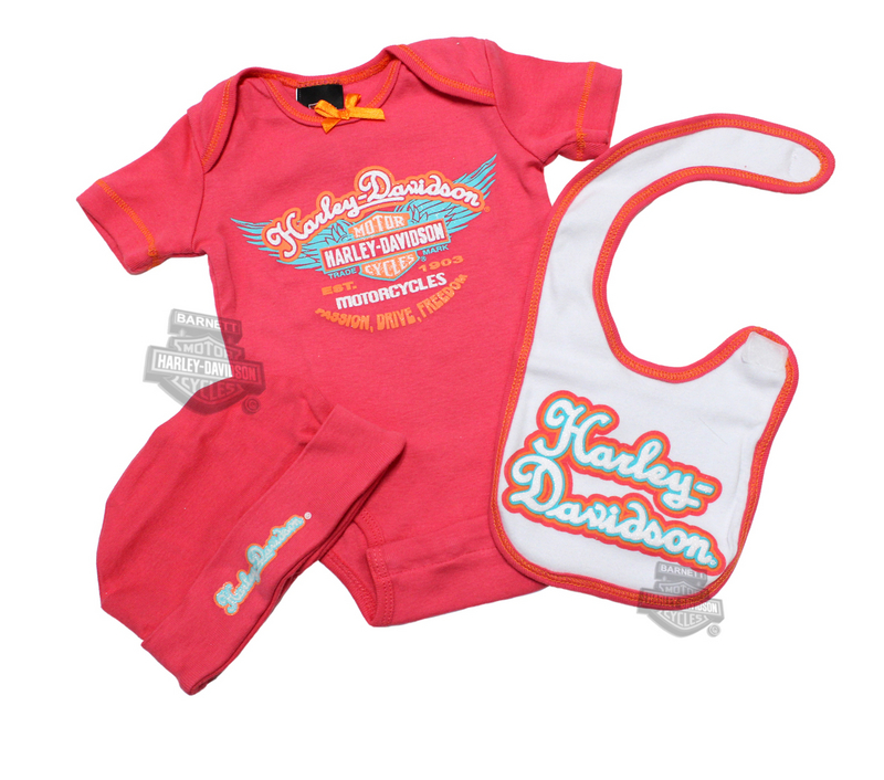 Harley-Davidson® Girls Baby Glitter Print 3 Piece Rib Boxed Set *48HR*