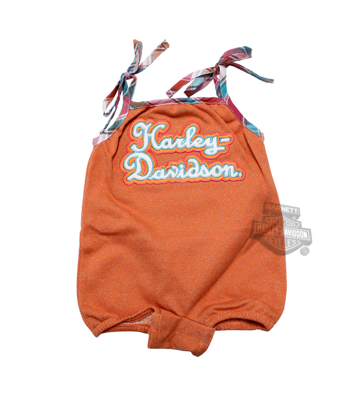 ** 2 for $5 ** Harley-Davidson® Girls Baby Glitter Print French Terry Orange Romper