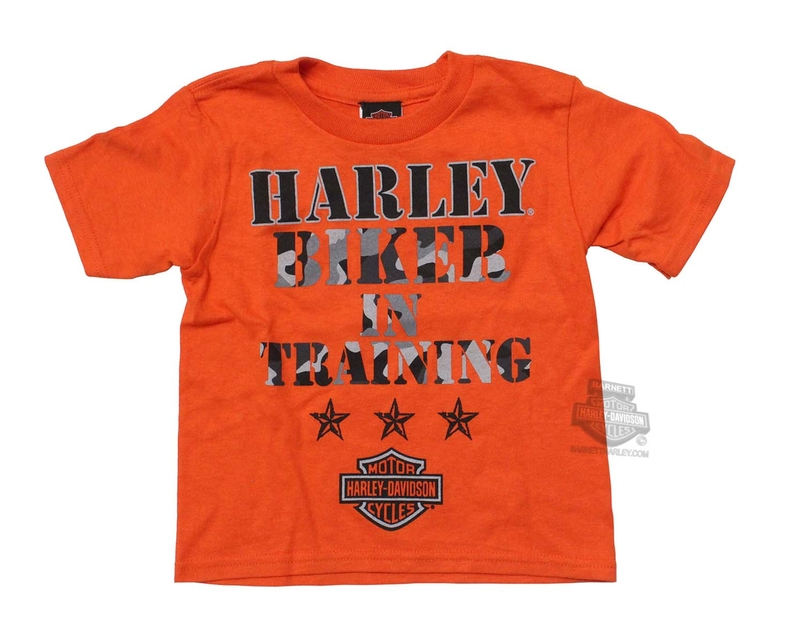 Harley-Davidson® Boys Toddler Biker In Training Camo Print B&S Orange Short Sleeve T-Shirt