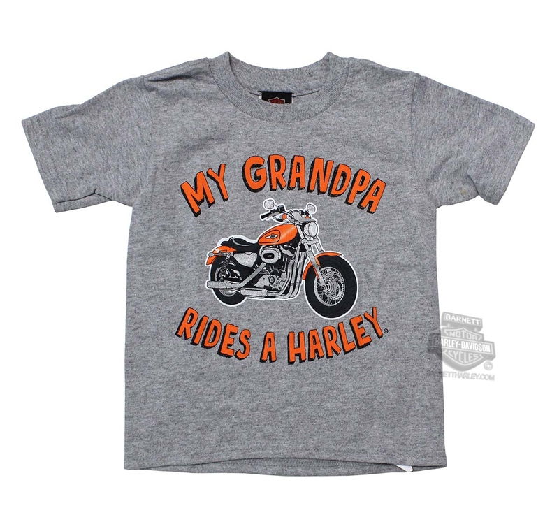 Harley-Davidson® Boys Toddler Grandpa Rides Motorcycle Grey Short Sleeve T-Shirt