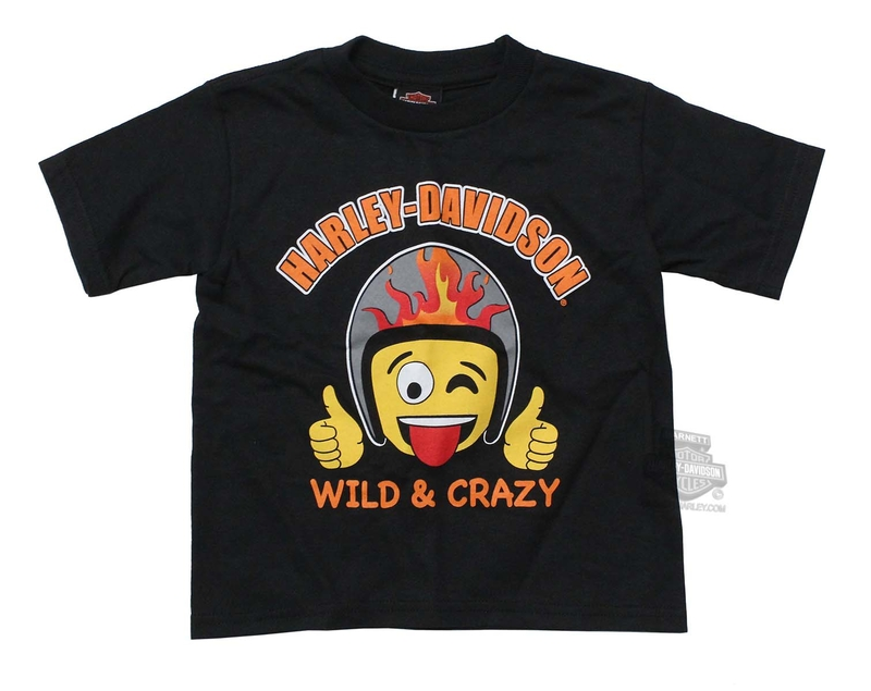 Harley-Davidson® Boys Toddler Wild and Crazy Emoji Black Short Sleeve T-Shirt