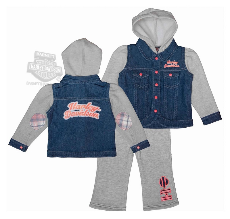 Harley-Davidson® Little Girls Baby 2 Piece Glitter Print Fleece Hooded Denim Blue Jog Set *CI1*