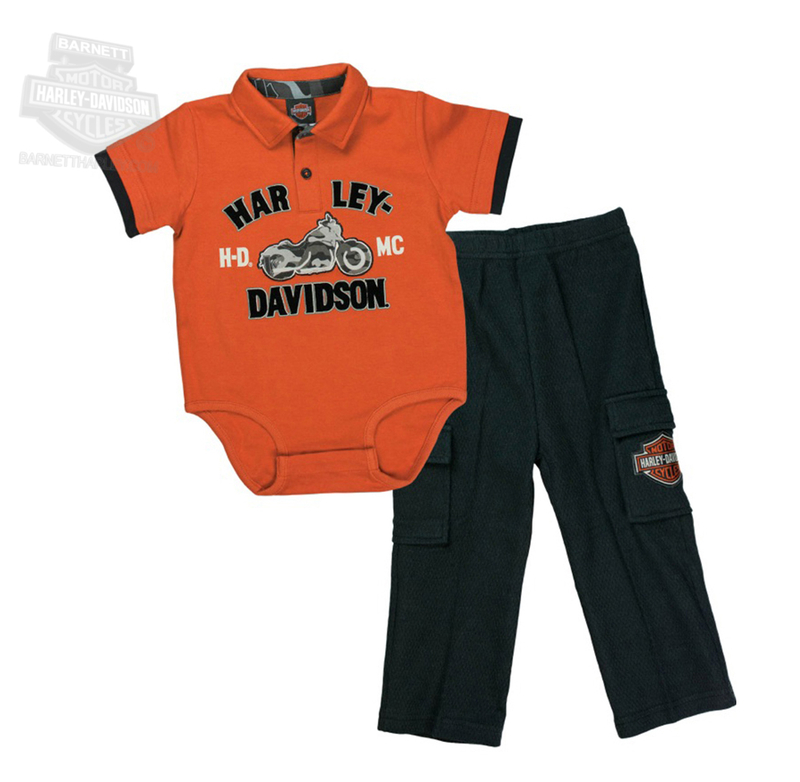 ** SIZE 24M ONLY ** H-D® Boys Baby HDMC Motorcycle Interlock Creeper Polo 2pc Orange Pant Set *CYB*