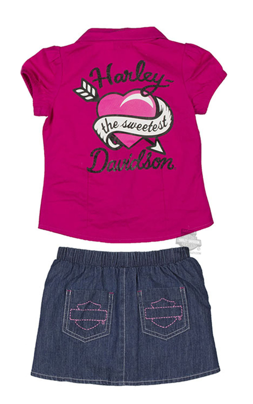 Harley-Davidson® Girls Toddler Winged B&S 2pc Denim Skort Set