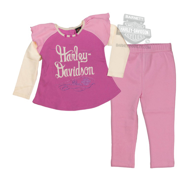 Harley-Davidson® Girls Toddler Glitter Screen Printed Mock 2fer 2pc Pink Pant Set