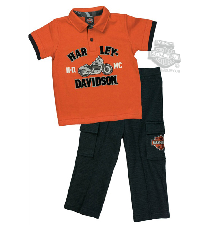 2b94f50721 Harley-Davidson® Boys Toddler HDMC Motorcycle Interlock Polo 2pc Orange  Pant Set *CYB