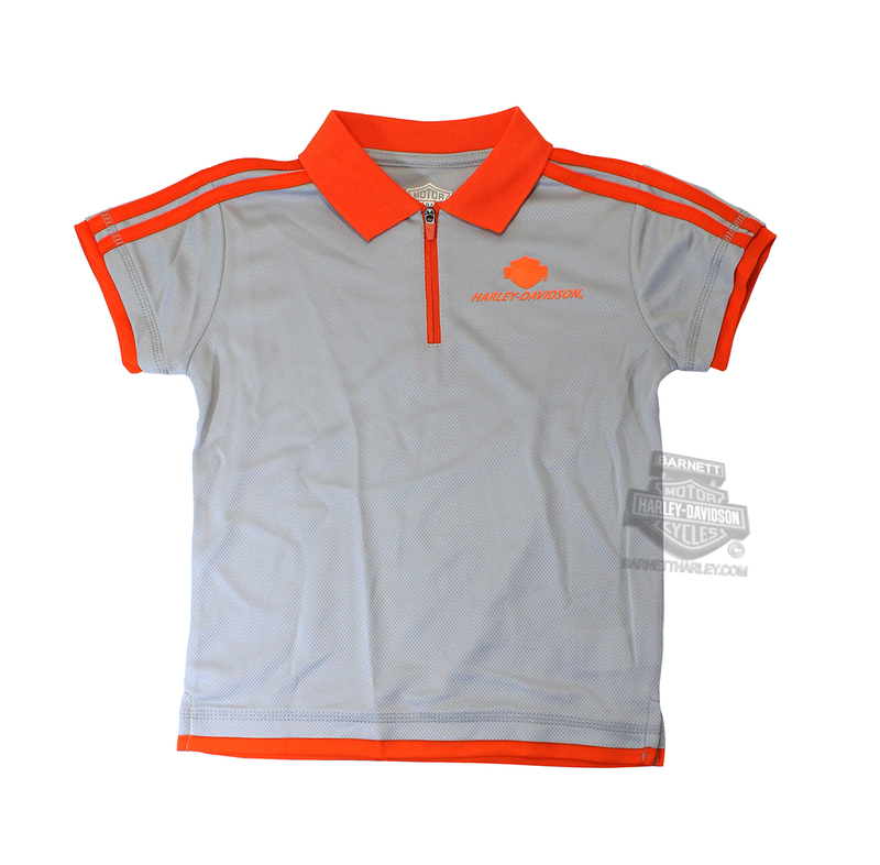 Harley-Davidson® Toddler Boys Youth Neon H-D Performance Knit Polo Grey *48HR*