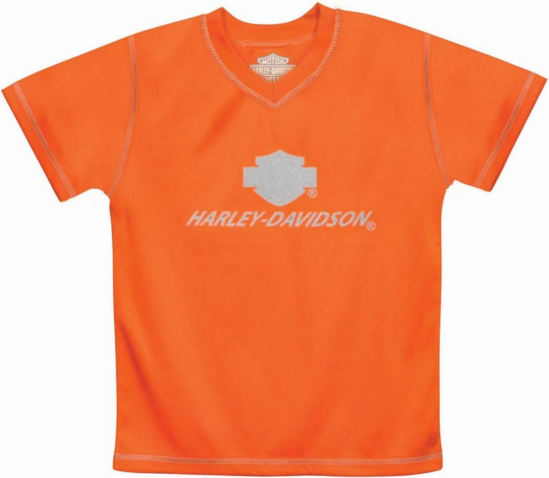 ** SIZE 8/10 ONLY ** Harley-Davidson® Boys Youth Neon H-D Performance V-Neck Tech Tee Orange