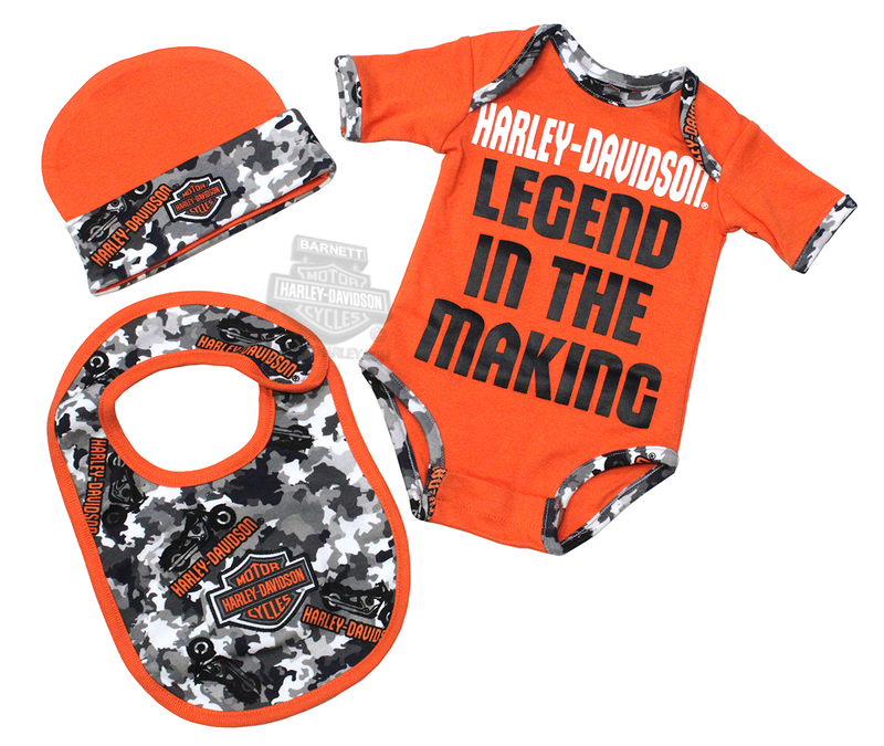 bc7933dd56 Harley-Davidson® Boys Baby Legend Camo 3pc Creeper, Bib & Hat Hanging Gift