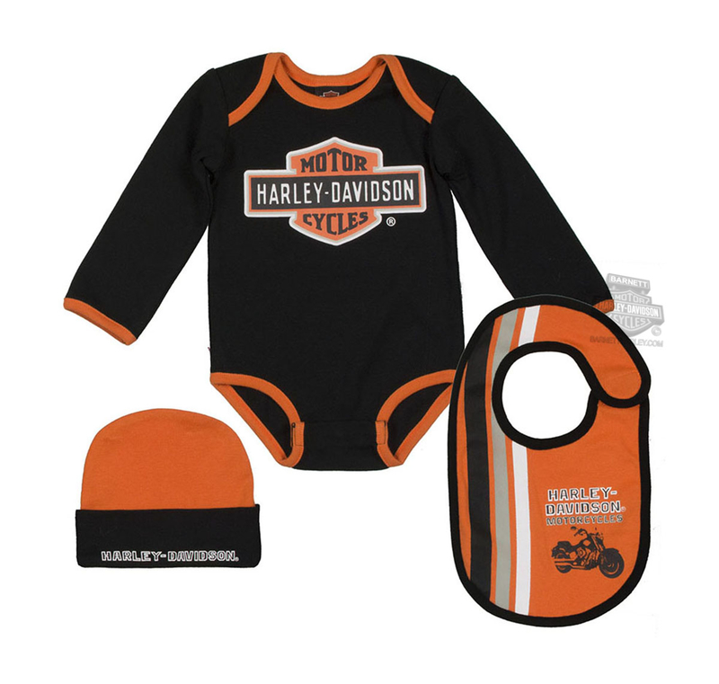 Harley-Davidson® Boys Baby Trademark B&S 3pc Creeper, Bib & Hat Set