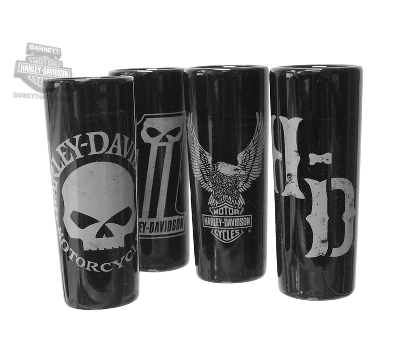 Harley-Davidson® Dark Custom Graphics Set of 4 2.5 oz. Black Shotglasses