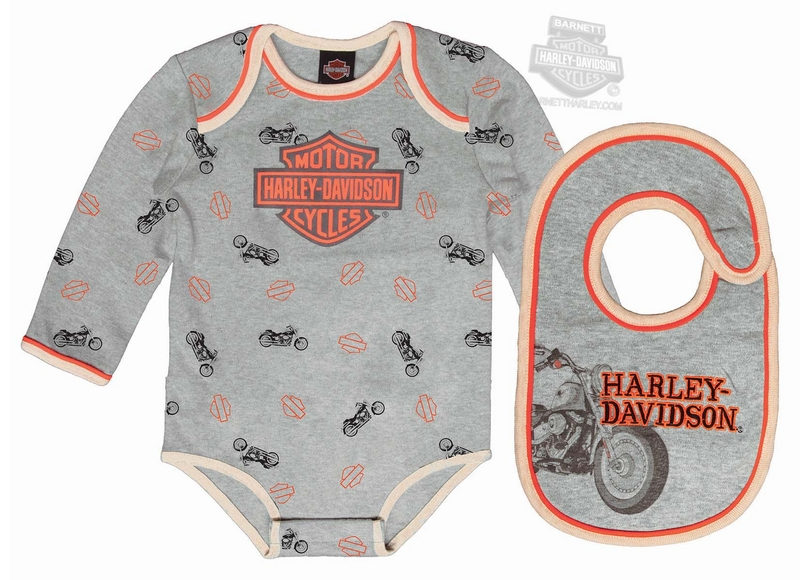 Harley-Davidson® Boys Baby 2 Piece B&S with Stars Grey Creeper & Bib Set
