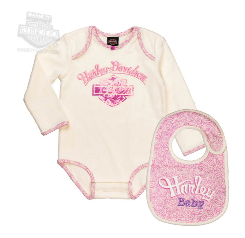 Harley-Davidson® Girls Baby B&S Glitter Printed 2pc Interlock Creeper & Bib *18HR*