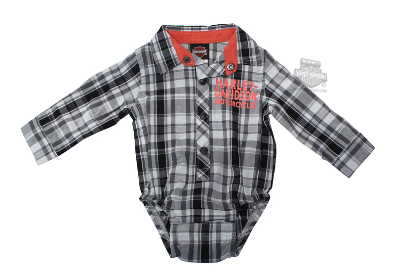 Harley-Davidson® Boys Baby B&S Logo Woven Plaid Long Sleeve Creeper