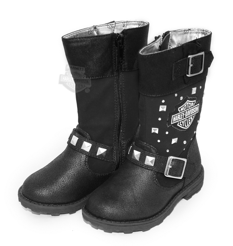 ** SIZES 13 & 1 ONLY ** Harley-Davidson® Girls Youth Tall with Stud Accents Biker Pleather Black Boots