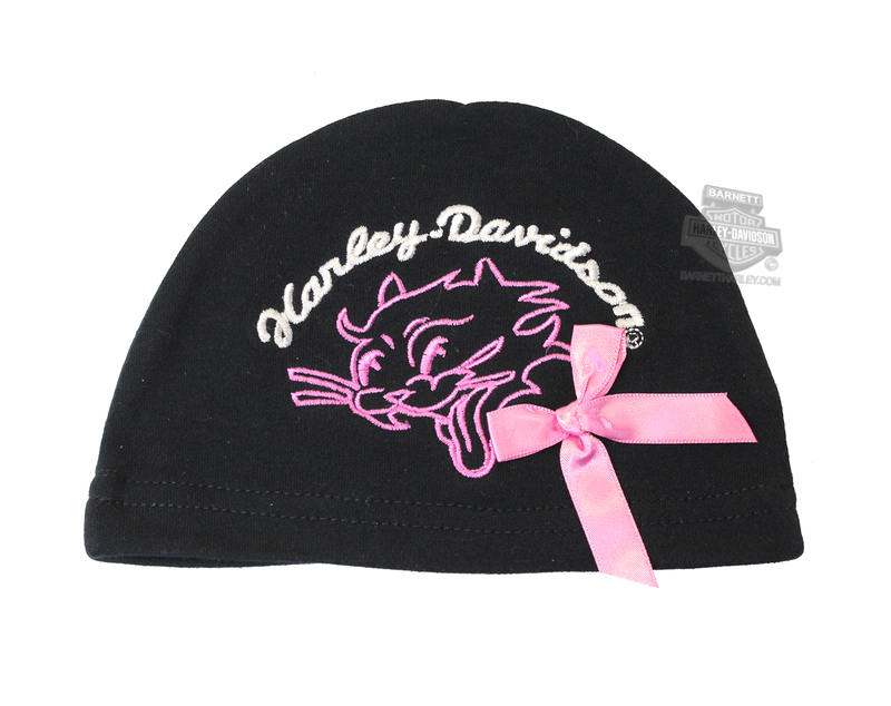 ** 3 for $10 ** Harley-Davidson® Girls Baby Cat Graphic Interlock Beanie Black *CIJ*