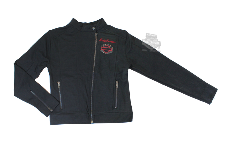 ** 7/8 & 10/12 SIZES ONLY ** Harley-Davidson® Girls Youth Knit Motor Jacket with Red Embroidery Black *CI1*