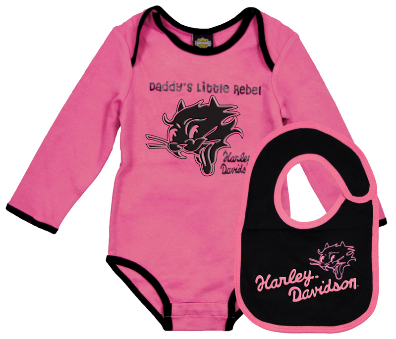 Harley-Davidson® Girls Baby Cat Graphic Bodysuit & Bib Pink