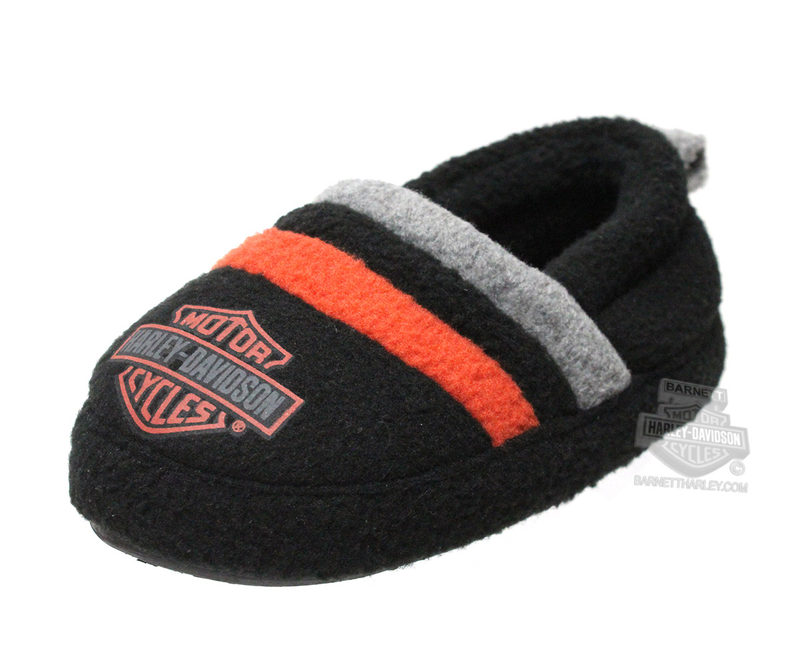 Harley-Davidson® Boys Youth Fleece Slipper with Orange & Grey Stripe Black *CYB*
