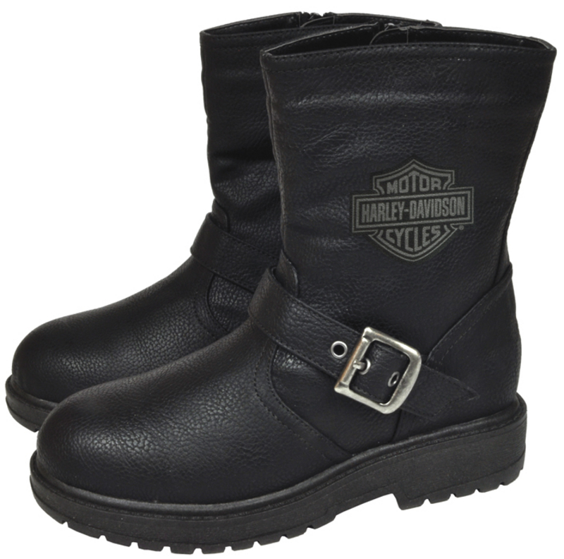 Harley-Davidson® Boys Youth PU Pleather Biker Boot Black