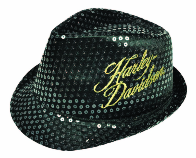 ** 2 for $5 ** Harley-Davidson® Girls Youth Black Sequined Black Fedora *CYB*