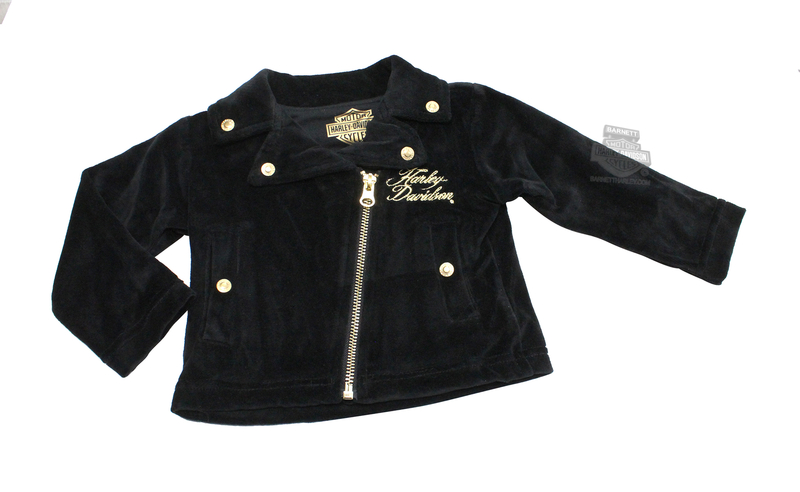 Harley-Davidson® Girls Baby Sequin B&S with Gold Trim Velour Biker Black Long Sleeve Jacket *CI1*