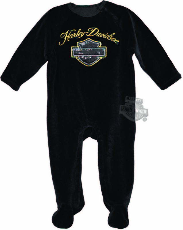 Harley-Davidson® Girls Baby Sequin B&S with Gold Trim Velour Footed Black Long Sleeve Coverall