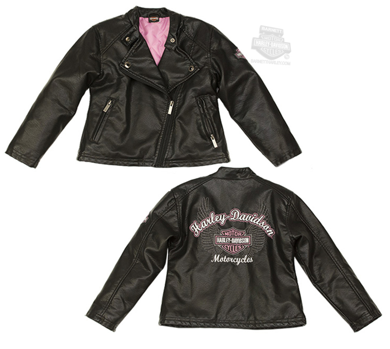 Harley-Davidson® Girls Youth Winged B&S Polyurethane Biker Style Black Jacket