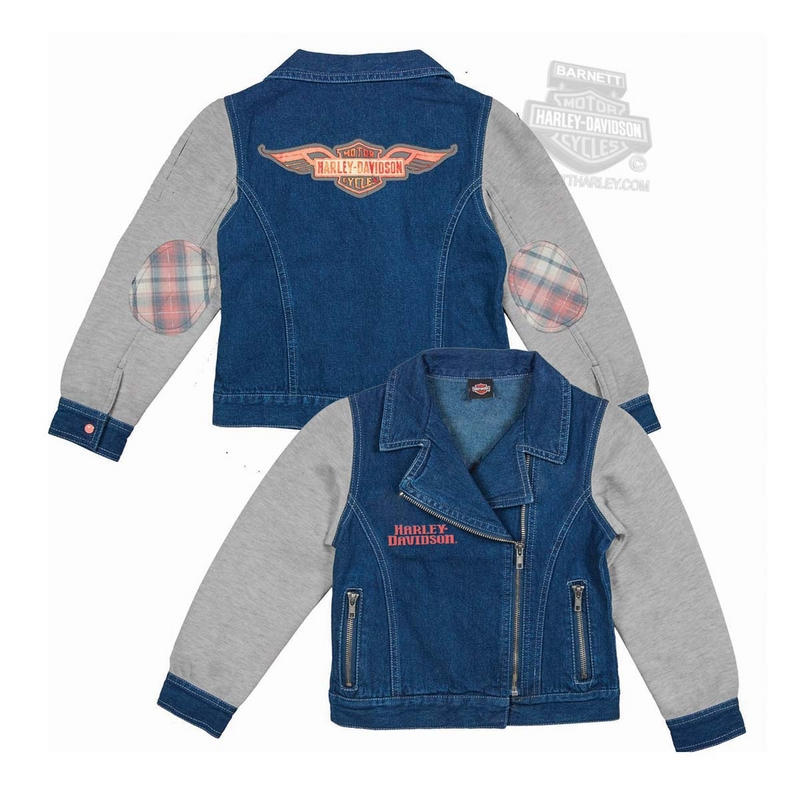 Harley-Davidson® Girls Youth Winged Trademark B&S Glitter Print Denim Fleece Blue Jacket *CI1*