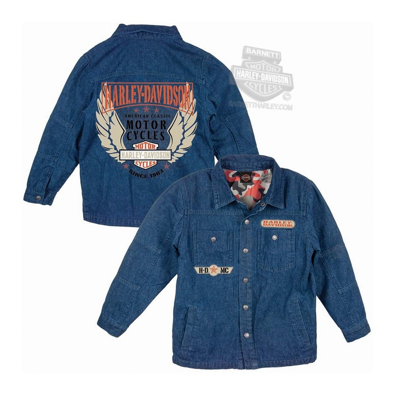 Harley-Davidson® Boys Youth Winged Trademark B&S Quilted Denim Blue Long Sleeve Shirt Jacket *CI1*