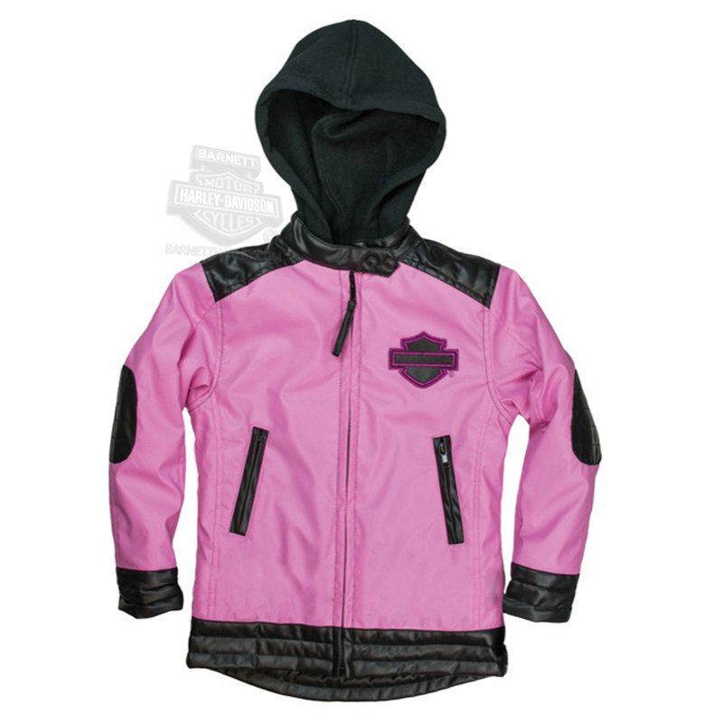 Harley-Davidson® Girls Youth B&S with H-D Script Fleece Lined Polyurethane Pink Jacket *CIJ*