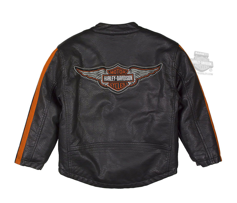 Harley-Davidson® Boys Youth Winged B&S Faux Leather Biker Black Jacket