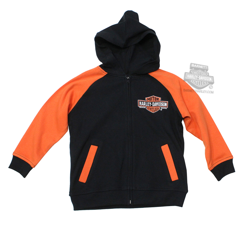 Harley-Davidson® Boys Youth Trademark B&S Genuine Black Long Sleeve Hoodie