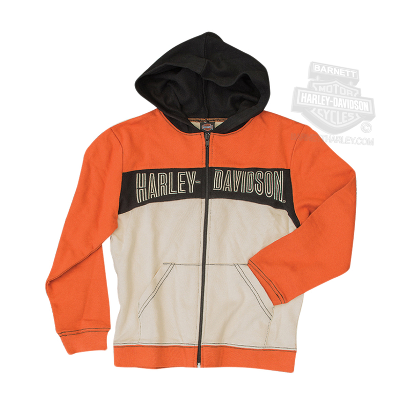Harley-Davidson® Boys Toddler Embroidered French Terry Full Zip Orange Long Sleeve Hoodie