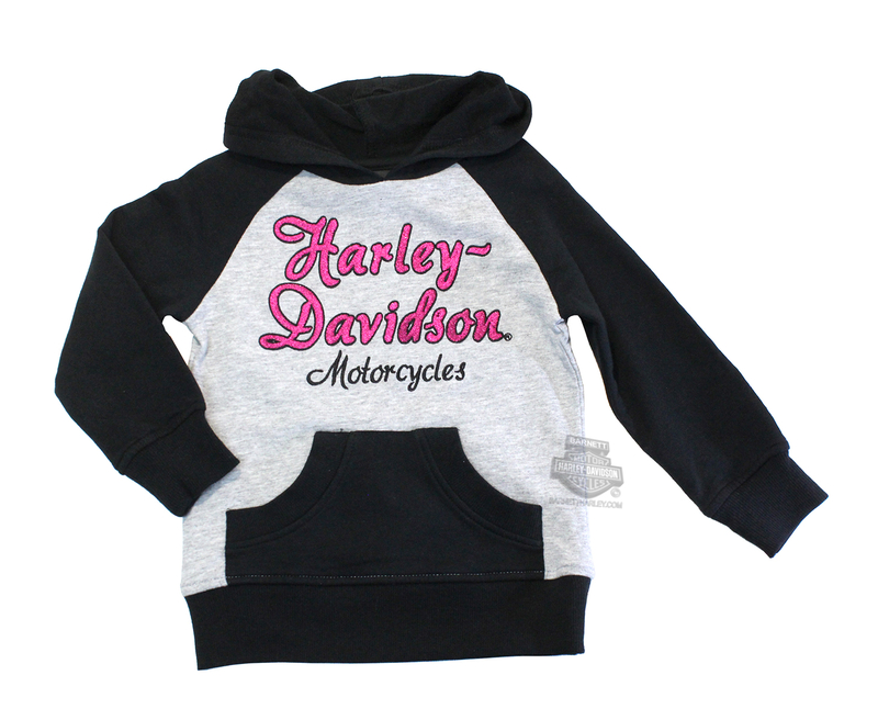 Harley-Davidson® Girls Youth Lurex Embroidered French Terry Pullover Black Long Sleeve Hoodie