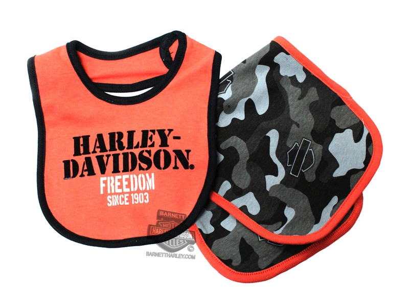 Harley-Davidson® Boys Baby Camo B&S 2pk Interlock Bib & Burp Cloth