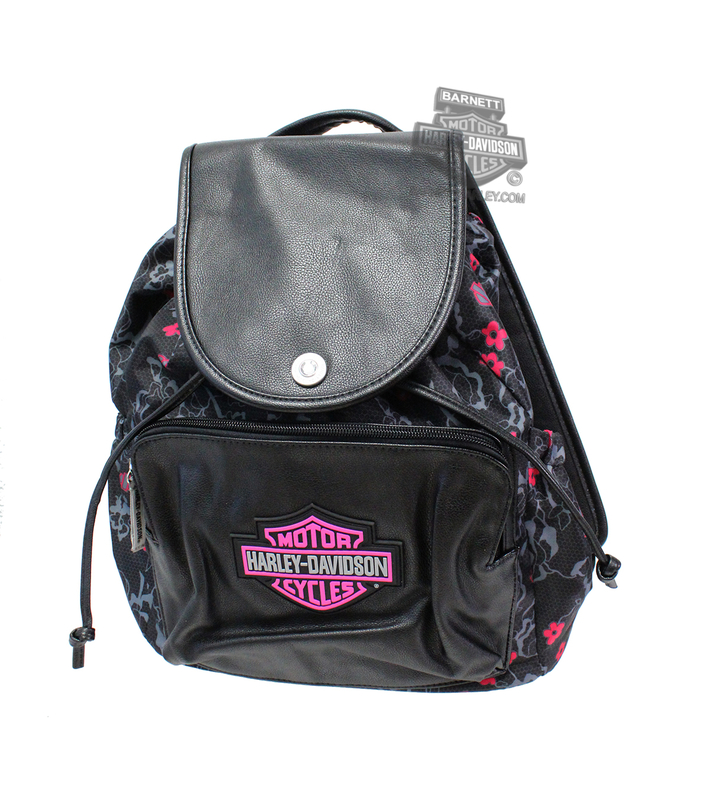 Harley-Davidson® Girls Youth Glitter B&S Patch with Silver Foil Print Studs Backpack *CIJ*