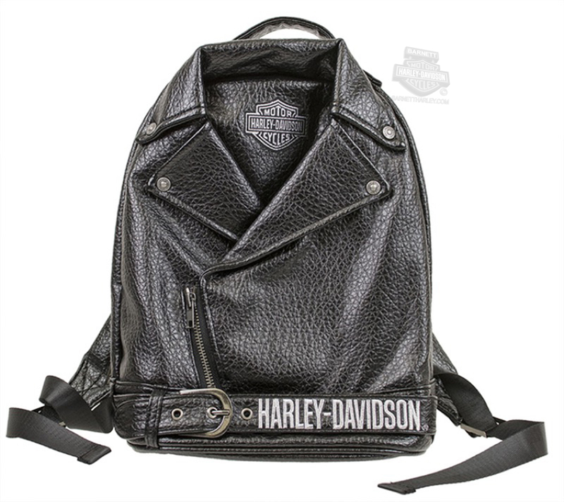 Harley-Davidson® Girls Youth B&S Polyurethane Biker Jacket Style Black Backpack