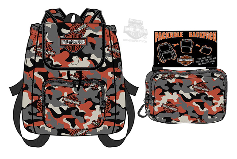Harley-Davidson® Boys Youth B&S Camo Print Packable Backpack