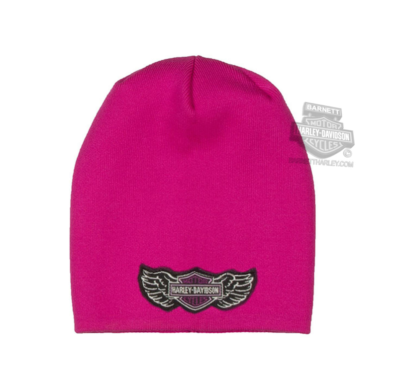 Harley-Davidson® Girls Youth Winged B&S Slouchy Pink Knit Cap
