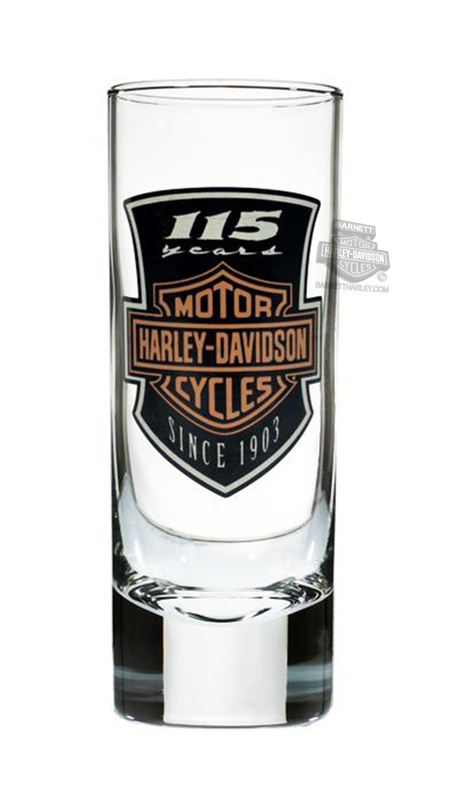 Harley-Davidson® 115th Anniversary Font BHD Custom Tall 2.5 oz. Clear Shotglass
