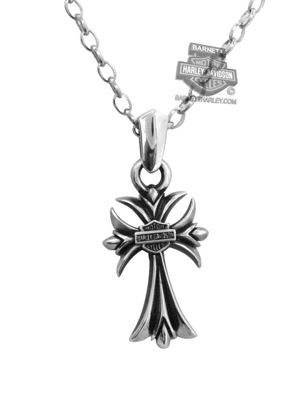 Harley-Davidson® Small Cross Silver Pendant