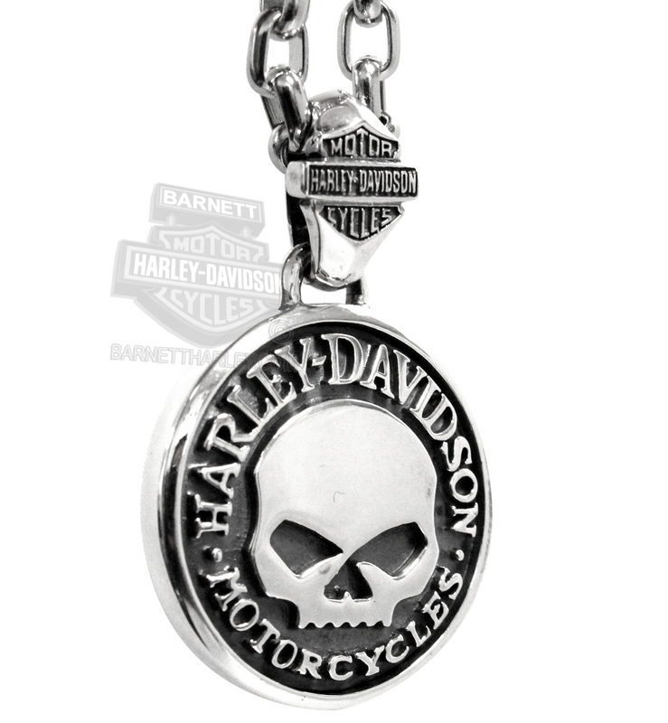 Harley-Davidson® Mens Large Circle Willie G Skull Silver Pendant