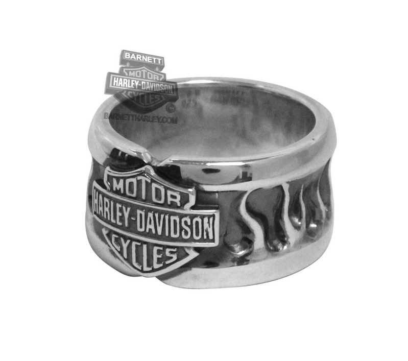 Harley-Davidson® Womens Flames with Bar & Shield Silver Ring