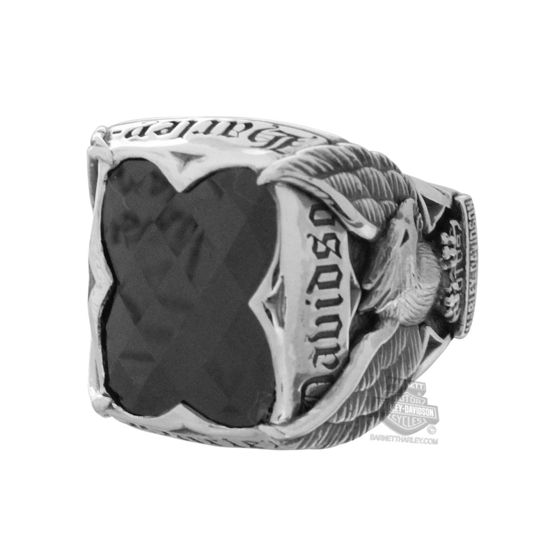 Harley-Davidson® Mens Big Jewel Upwing Eagle Onyx Silver Ring